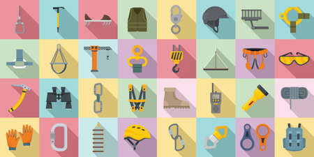 Industrial climber icons set, flat style