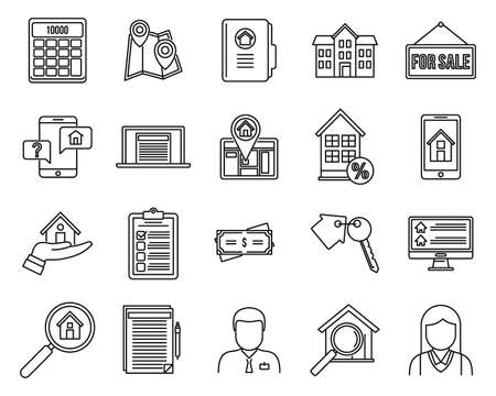 Investor realtor icons set, outline style 版權商用圖片 - 158915925