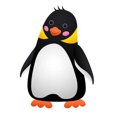 Surprised penguin icon, cartoon style 向量圖像