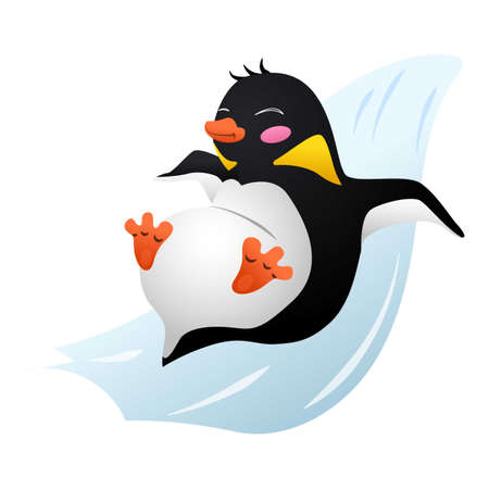Penguin on ice slide icon, cartoon style