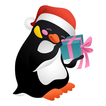 Penguin with surprise icon, cartoon style