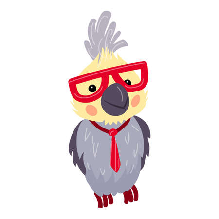 Parrot with glasses icon, cartoon style