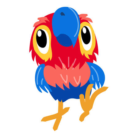 Macaw parrot icon, cartoon style