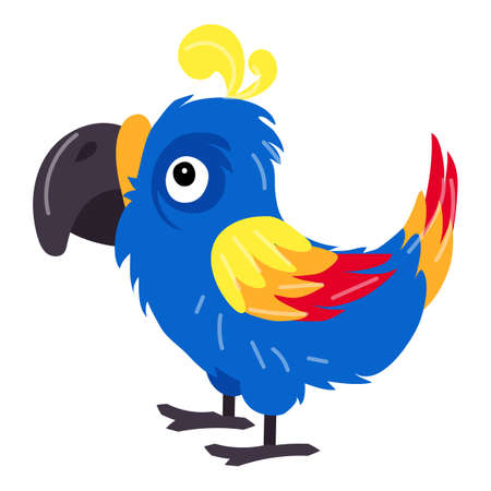 Funny parrot icon, cartoon style