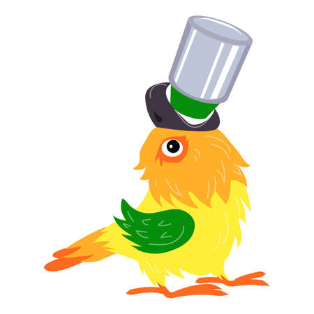 Parrot with can icon, cartoon style