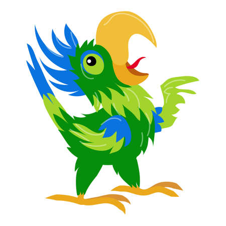 Singing parrot icon, cartoon style 版權商用圖片 - 158915960