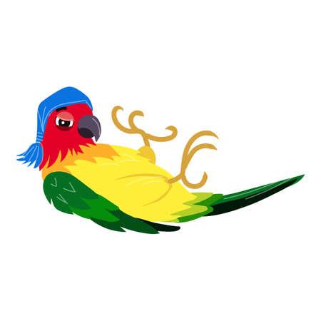 Parrot lies icon, cartoon style