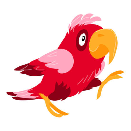 Excited parrot icon, cartoon style