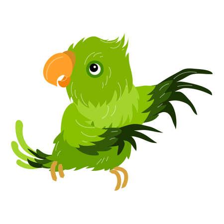 Green parrot icon, cartoon style 向量圖像