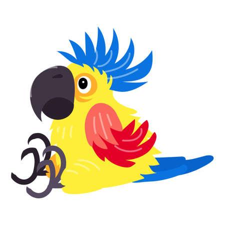 Sitting parrot icon, cartoon style