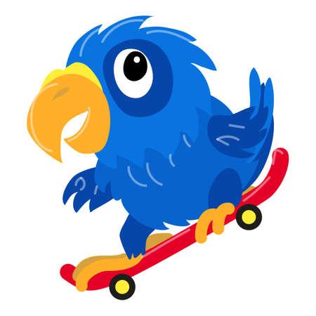 Parrot on skateboard icon, cartoon style