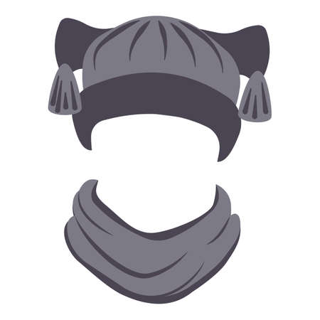 Trendy hat and scarf icon, cartoon style