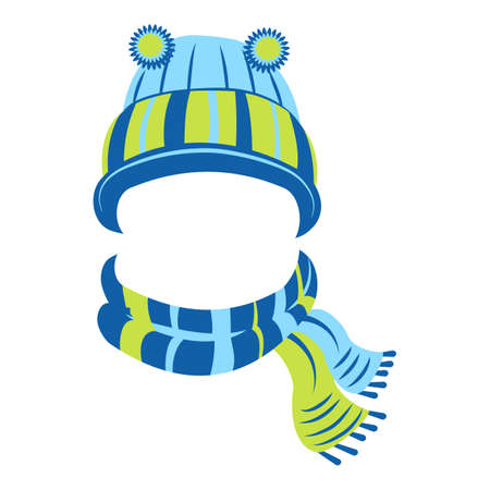 Wool hat and scarf icon, cartoon style