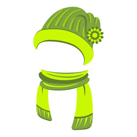 Sports hat and scarf icon, cartoon style