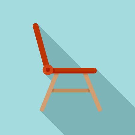 Folding plastic chair icon, flat style