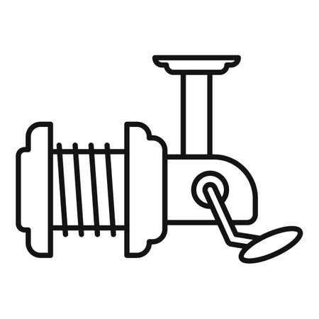 River fishing reel icon, outline style 矢量图像