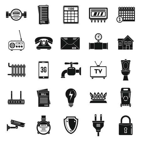 Energy utilities icons set, simple style