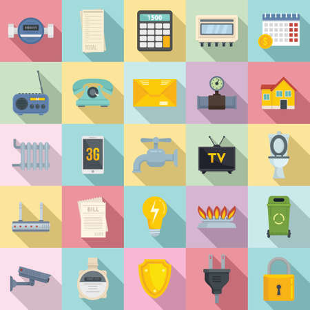 Utilities icons set, flat style 向量圖像