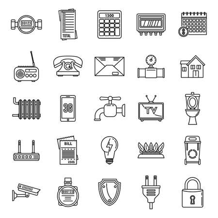 Smart utilities icons set, outline style