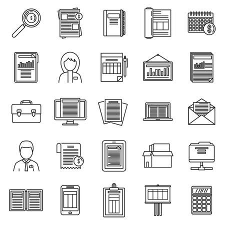 Estimator process icons set, outline style