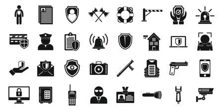 Personal guard icons set, simple style