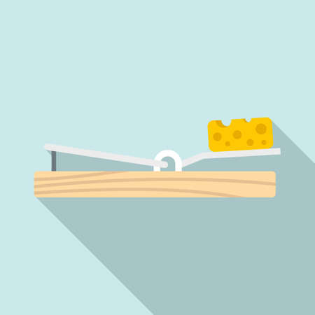 Mouse trap cheese icon, flat style