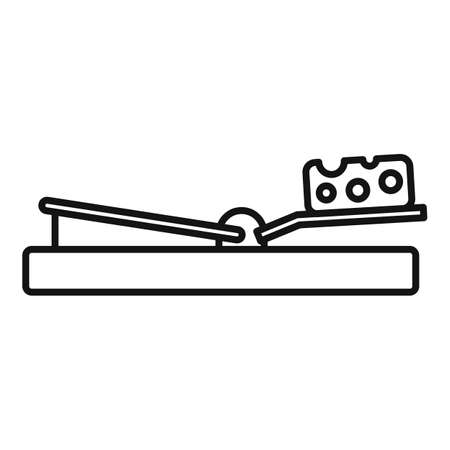 Mouse trap cheese icon, outline style