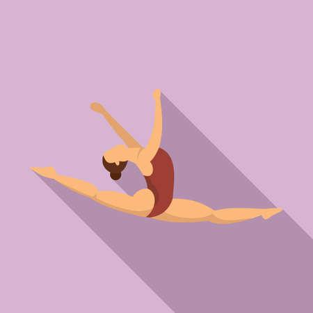 Split jump girl gymnastics icon, flat style