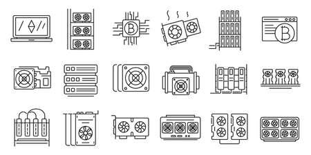 Mining farm icons set, outline style