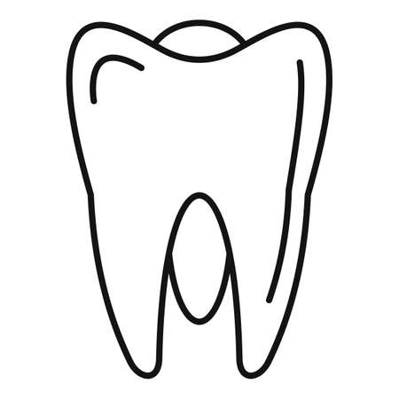 White tooth icon, outline style