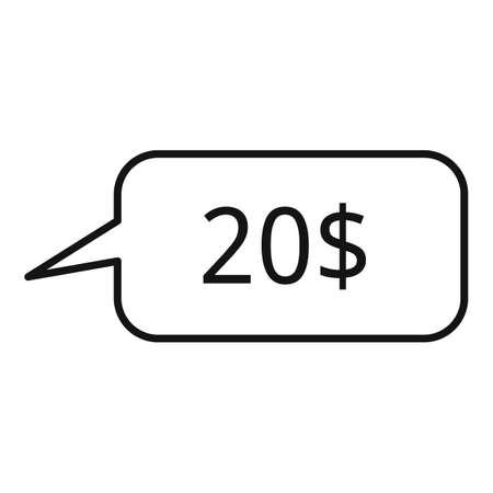 20 dollar price icon, outline style 版權商用圖片