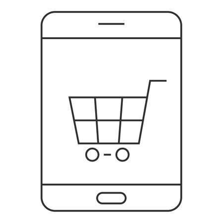 Online smartphone shopping icon, outline style