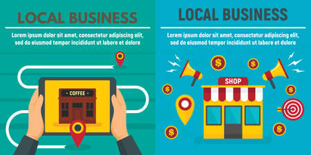City local business shop banner set, flat style