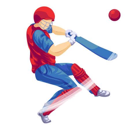 Cricket player icon, cartoon style