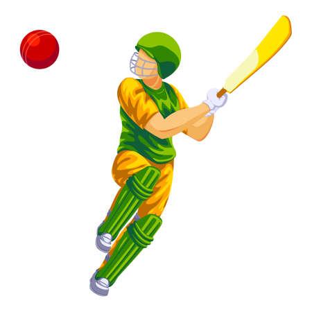 Cricket player green clothes icon, cartoon style