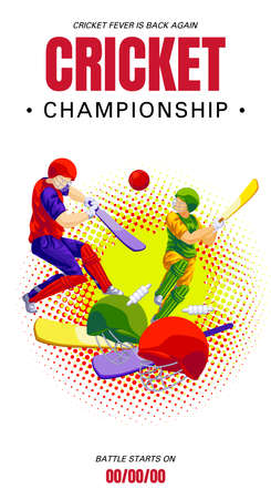 Cricket championship concept banner, cartoon style