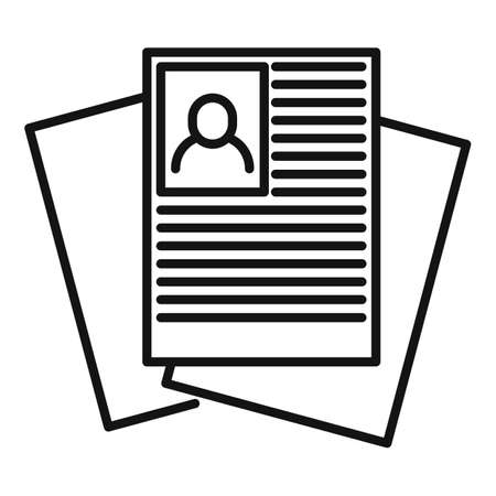 Recruiter paper documents icon, outline style