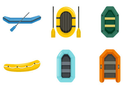 Inflatable boat icon set, flat style Archivio Fotografico