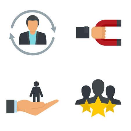 Customer retention icon set, flat style