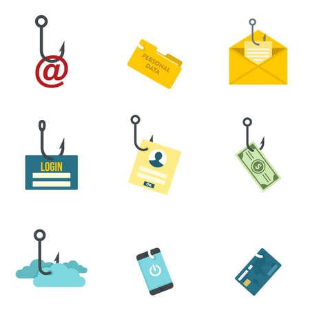 Phishing icon set, flat style