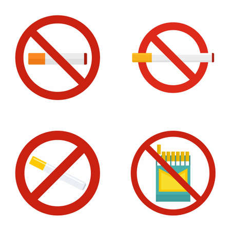 No smoking icon set, flat style Фото со стока