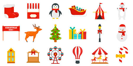Christmas fair icon set, flat style