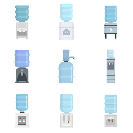 Cooler water icon set, flat style