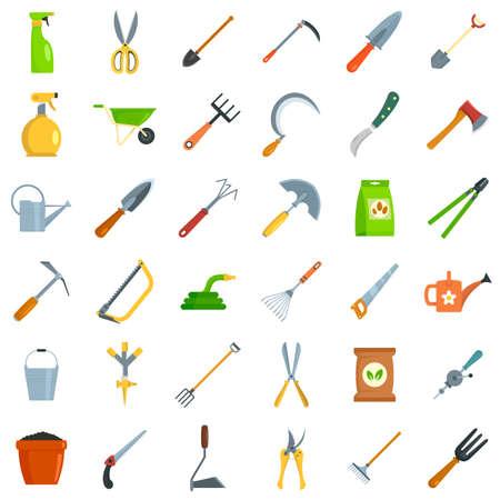Gardening tools icon set, flat style