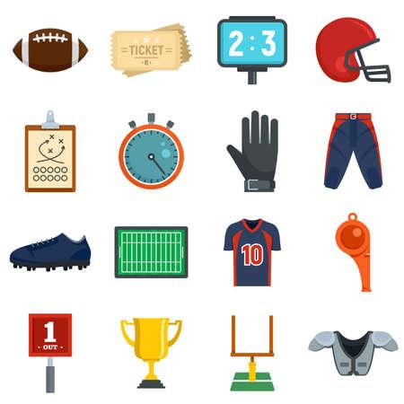American football equipment icons set, flat style Foto de archivo