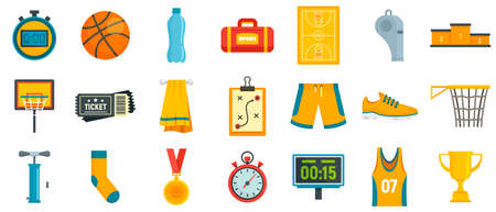 Basketball equipment icons set, flat style