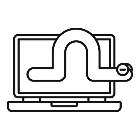 Worm laptop icon, outline style Stock Photo