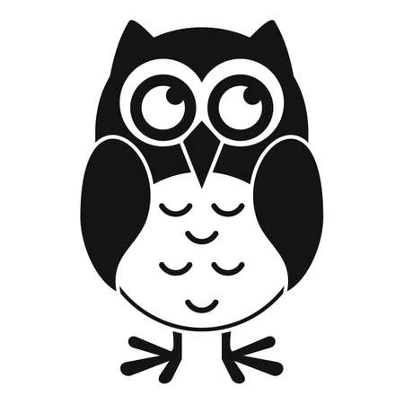 Funny owl icon, simple style