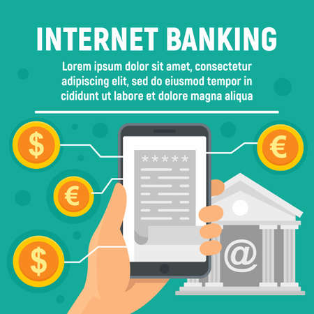 Global internet banking concept banner, flat style