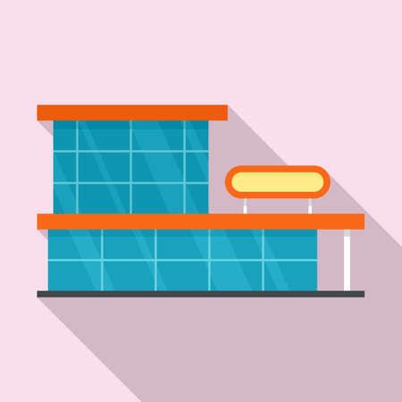 Storefront mall icon, flat style Фото со стока
